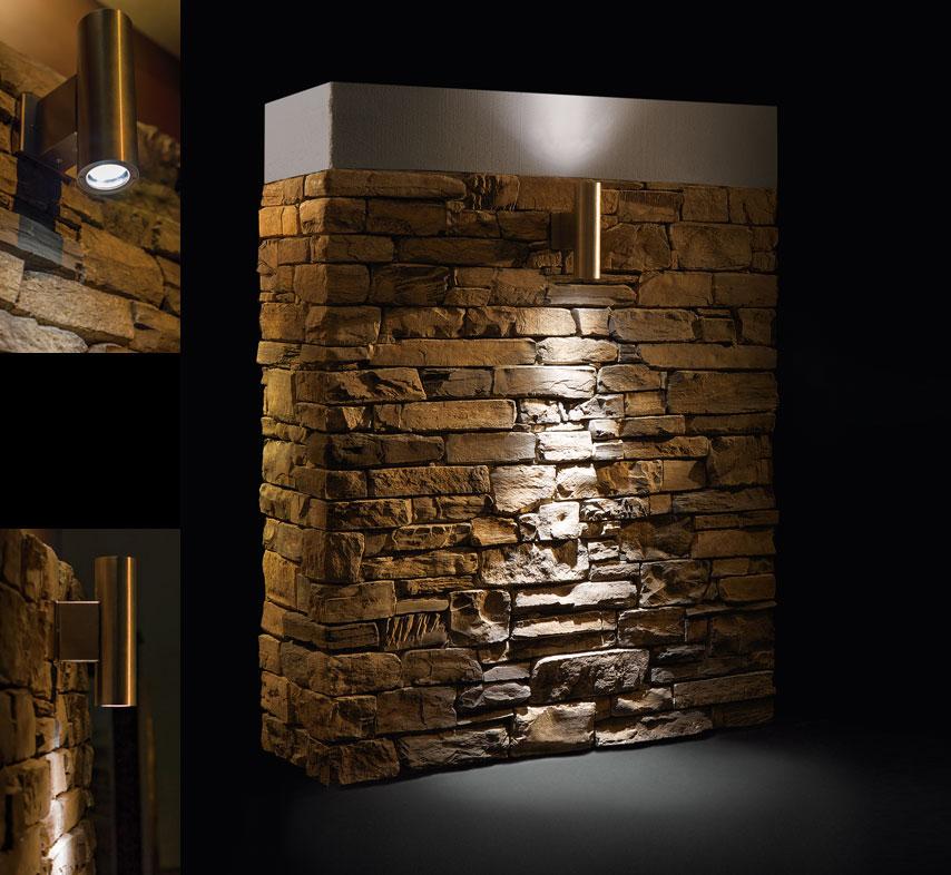 Faretto striker per muri in pietra ricostruita geopietra - Pietre da parete per interni ...