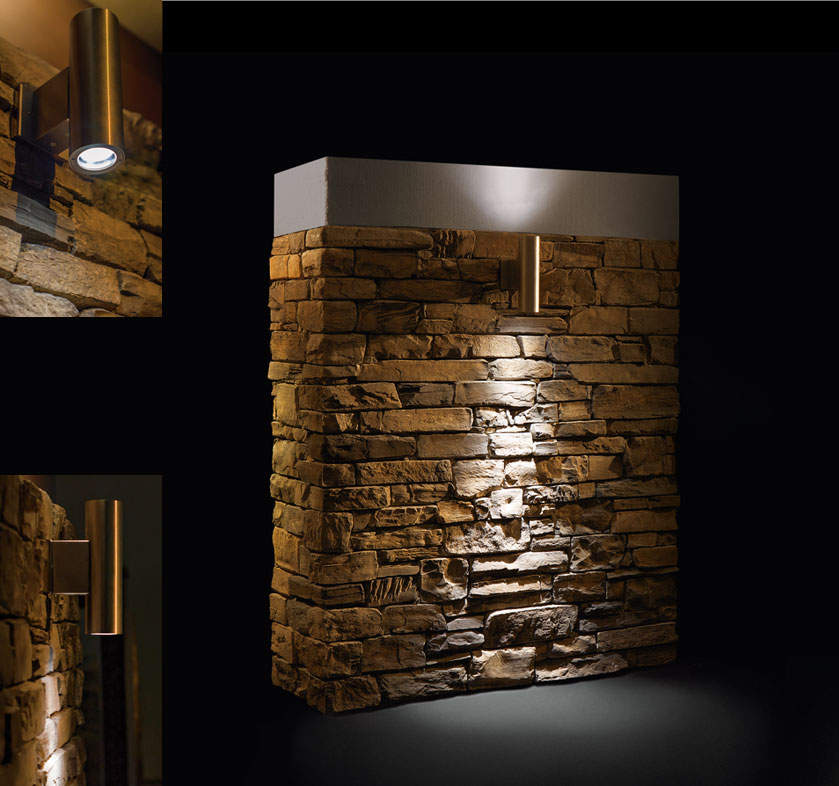 Ottagono e striker faretti per muri in pietra ricostruita - Illuminazione a pavimento per esterni ...